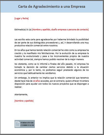 carta de agradecimiento a una empresa