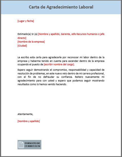 Carta Agradecimiento Laboral