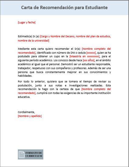 carta Recomendacion Para Estudiante