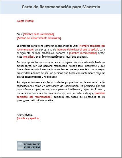 Carta Recomendacion Para Maestria