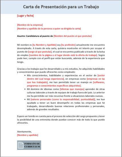Carta Presentacion para trabajo