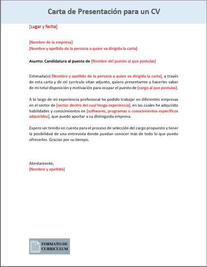 Carta Presentacion para cv