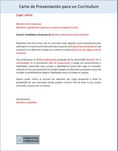 Carta Presentacion para curriculum