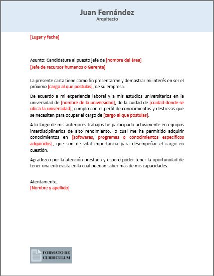 Carta Presentacion profesional