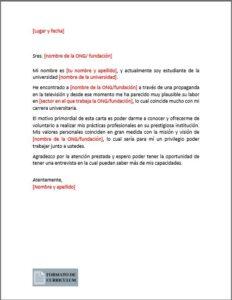 Carta Presentacion para voluntariado
