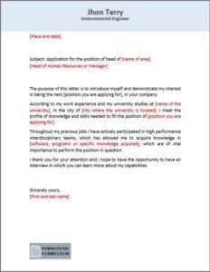 Carta Presentacion en ingles