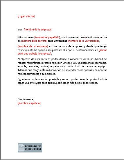 Carta Presentacion para practicas profesionales