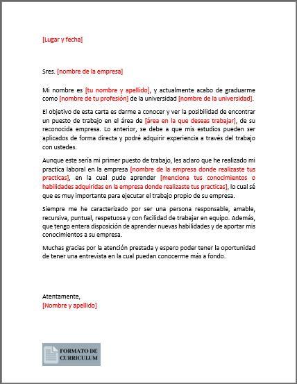 Carta Presentacion sin experiencia