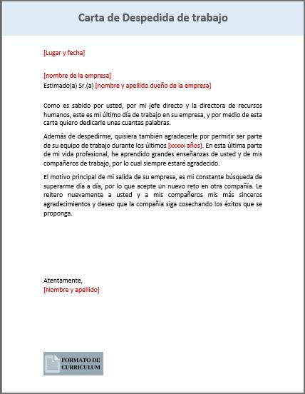 Carta Despedida de trabajo