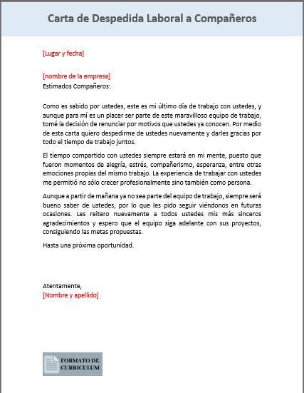 Carta Despedida laboral a compañeros