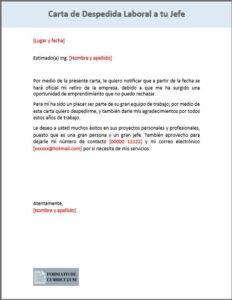 carta Despedida laboral al jefe