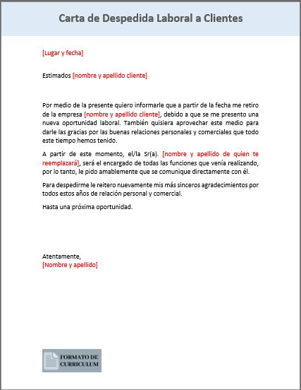 Carta Despedida laboral a clientes