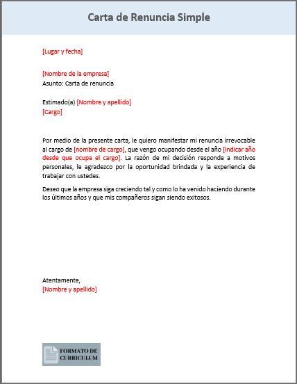Carta de renuncia simple