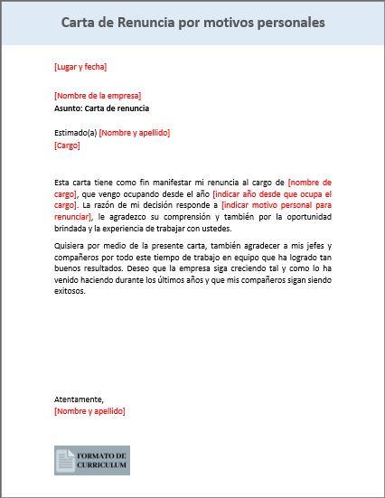 Carta de renuncia por motivos personales